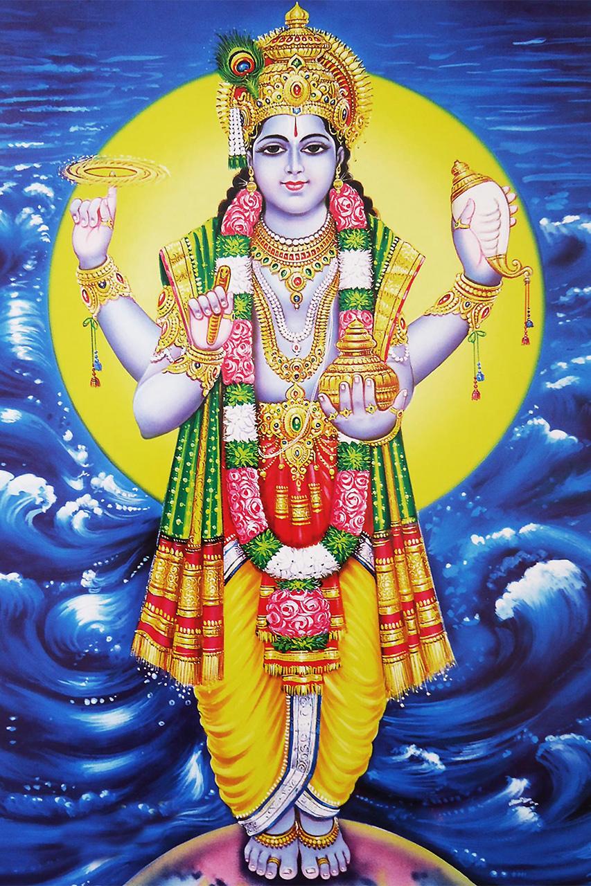 Ayurveda Dhanvantari, Urvater des Ayurveda, übergibt Wissen, Nektar, Heilkräuter sowie alles Gute